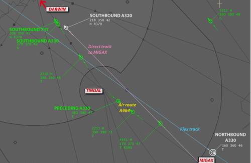 Figure 3: Proximity and positions of aircraft at 0233:37