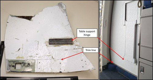This figure shows features of the recovered internal panel with an exemplar Malaysian Airlines B777 Door R1 closet panel.  The similarities include the table support hinge and the decorative vinyl laminate.