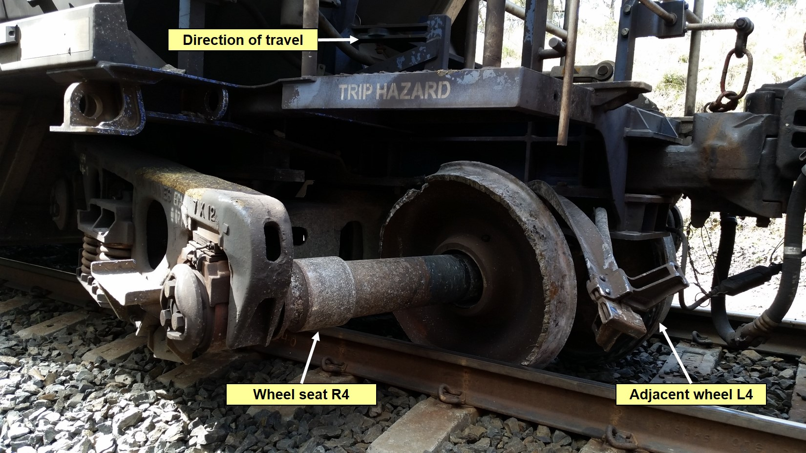 Figure 4: Derailed bogie viewed from Down side of track