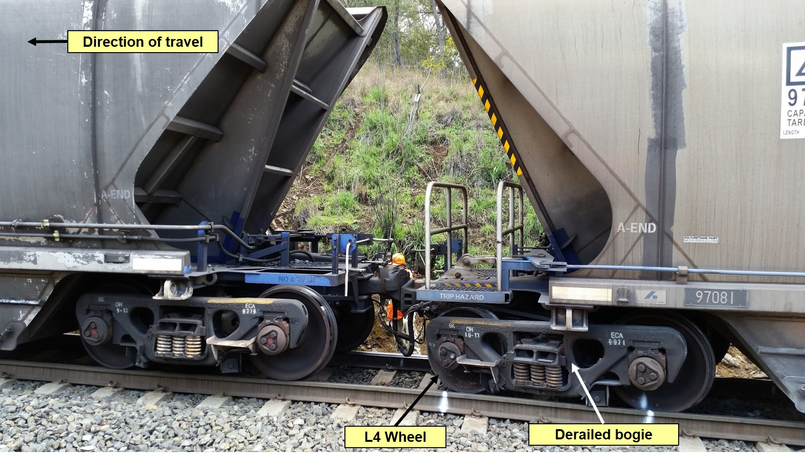 Figure 5: Derailed bogie viewed from Up side of track