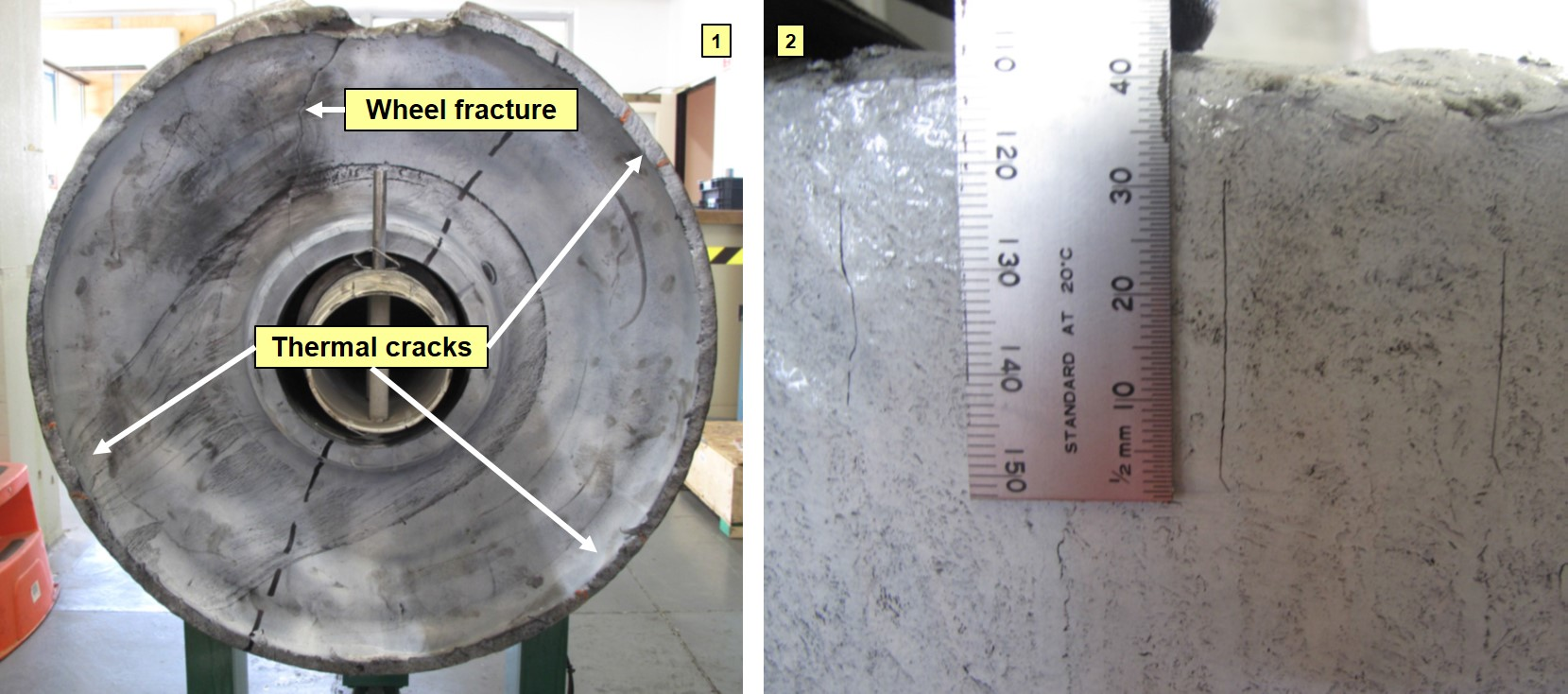 Figure 10: Thermal cracks identified during metallurgical analysis