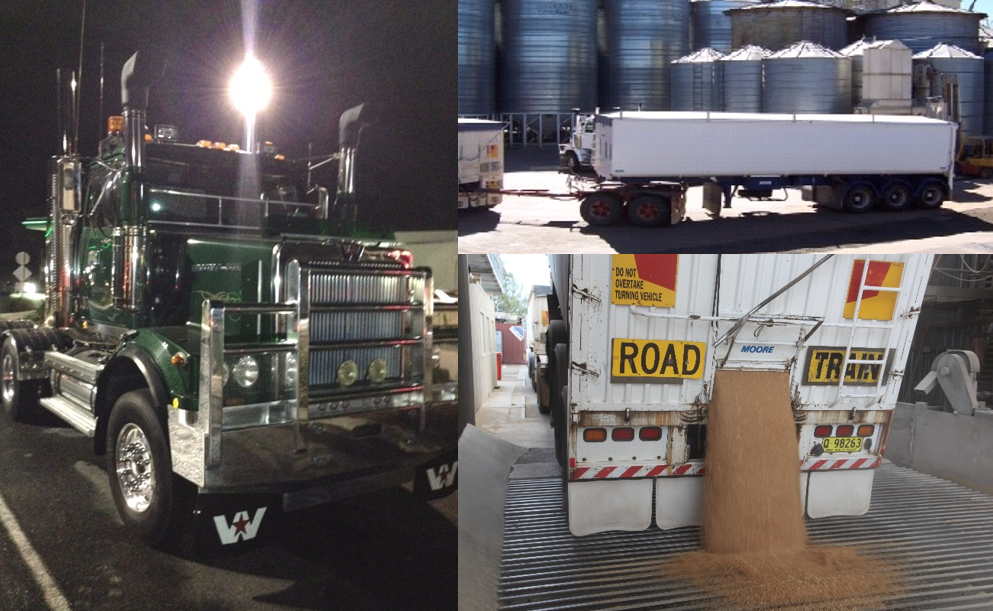 Figure 10: Western Star prime mover (left photo) and road-train trailers (right photos)