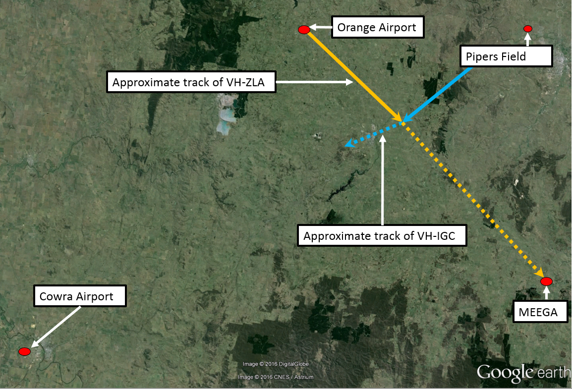 Figure 1: Approximate aircraft tracks and relevant locations