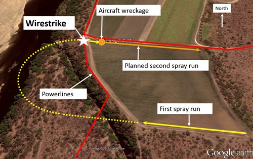 Figure 12: Paddock to be sprayed showing powerlines and wirestrike location