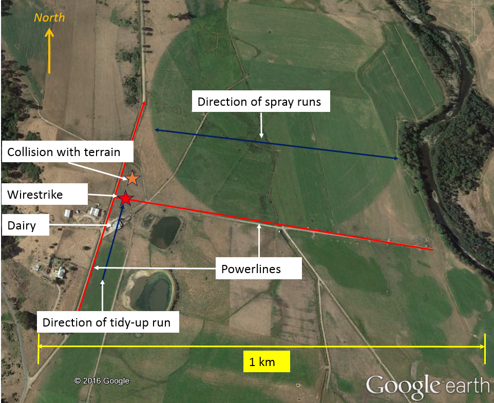 Figure 1: Area of operations showing powerlines