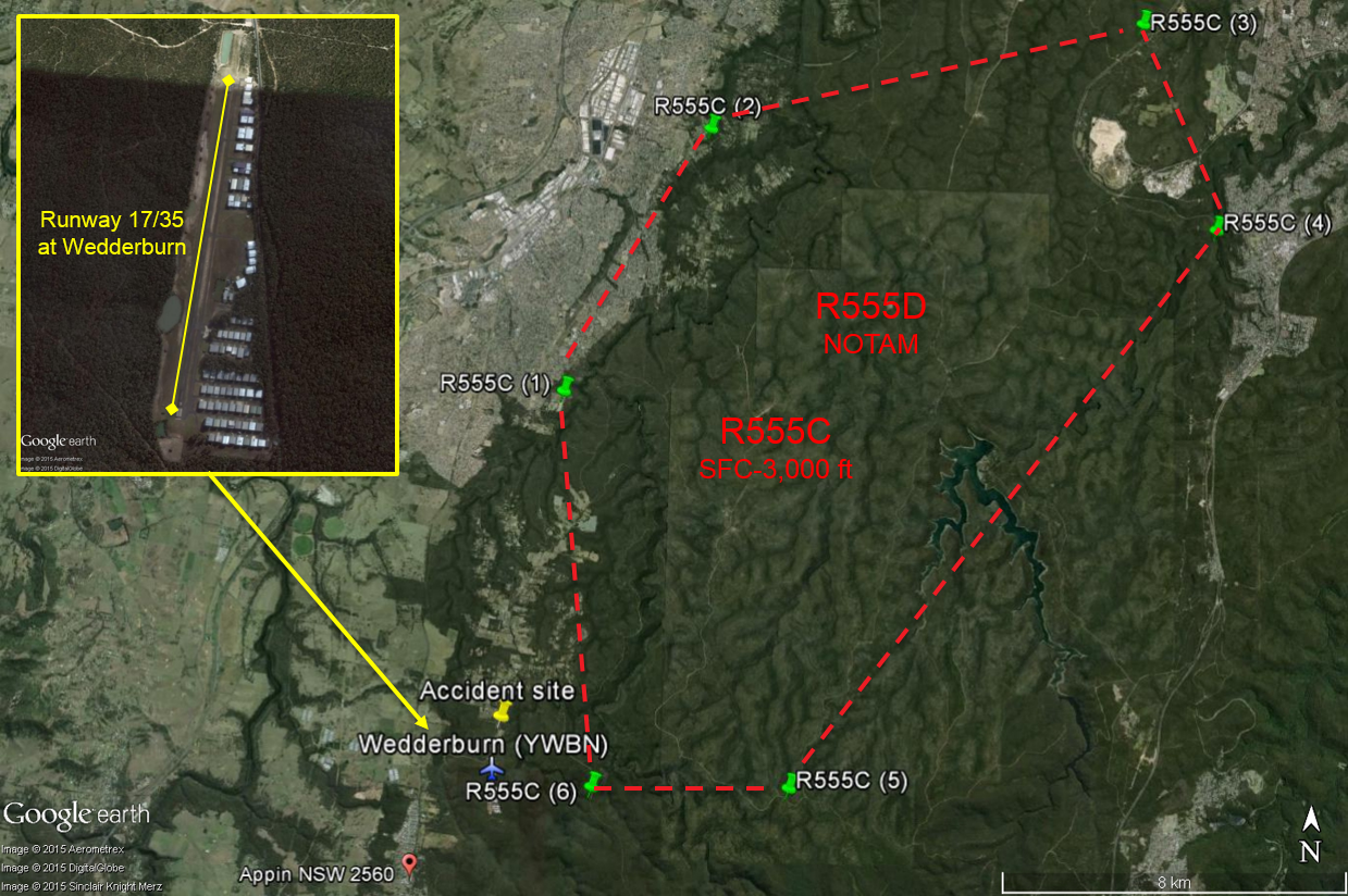 Figure 3: Proximity of restricted area R555 (outlined by the red dashed line) to Wedderburn Airport (bottom-left of the restricted area) and Wedderburn runway 17/35 at inset