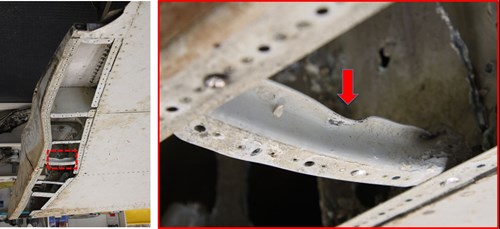 Figure 17: Outboard flap, damaged stiffeners within the seal pan cavity