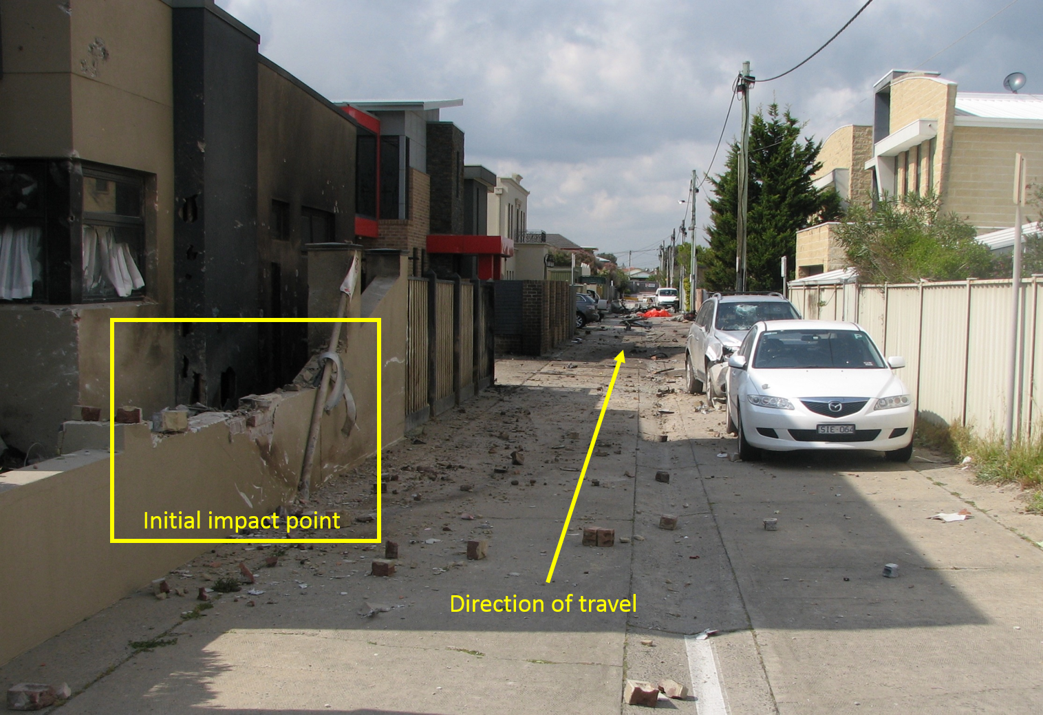 Figure 1: Accident site from the initial impact point on the left, looking south down the laneway