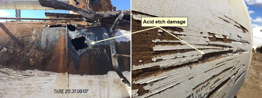 Figure 8: Acid etch damage to GATX tanker vessel