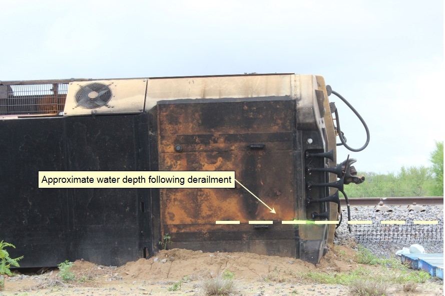Figure 13: Approximate water depth following derailment