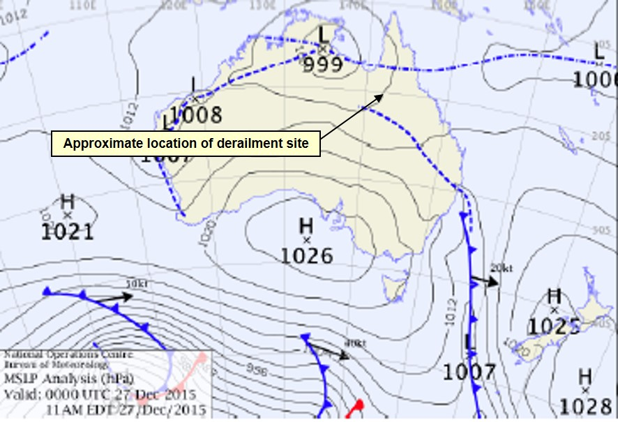 Figure 14: Mean sea level weather chart at 1100 on Sunday 27 December 2015
