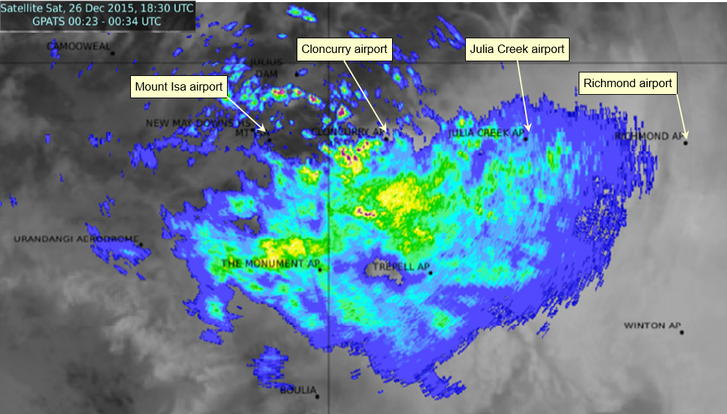 Figure 18: Combined satellite and radar reflectivity imagery over north-western Queensland at 0430