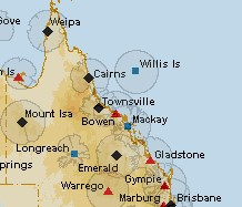 Figure 20: BoM radar optimal coverage areas - Queensland