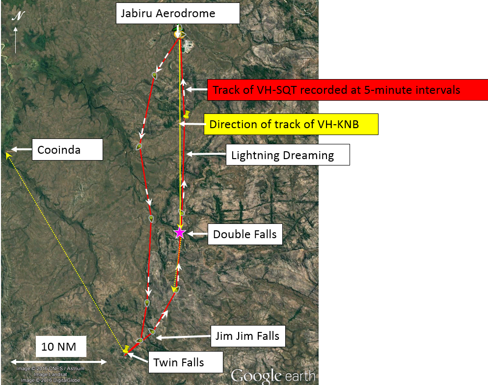 Figure 1: Recorded track of VH-SQT and relevant locations