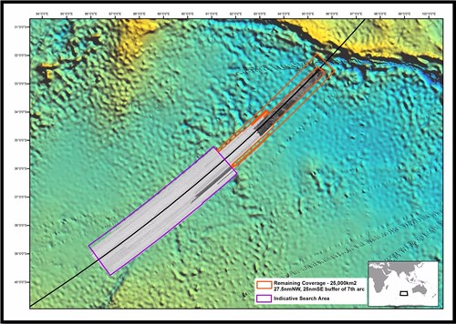 Figure 14. Remaining prospective area to find the wreckage of MH370