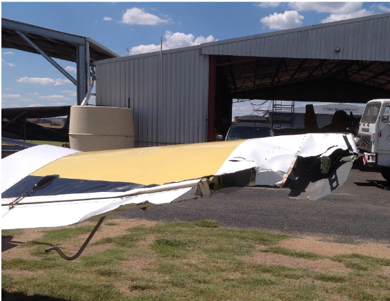 Right wing tip of a Fletcher FU 24 following a collision with a Gippsland GA 200 near Cootamudra, NSW on 27 February 2015. Source: Aircraft owner.