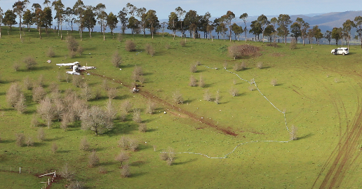 Accident site, showing the initial point of contact and wreckage trail of a Cessna 172 near Millbrook, VIC on 8 September 2015. Source: ATSB.