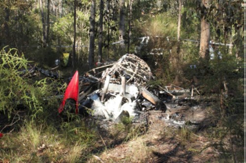 Accident site, showing collision with terrain of an amateur built Pitts model 12 near Maitland Aerodrome, NSW on 8 July 2015. Source: ATSB.