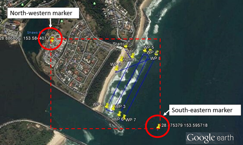 Figure 3: Planned operating area defined using NW and SE markers