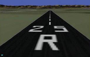Figure 5: Synthetic vision runway display on approach (at low altitude)