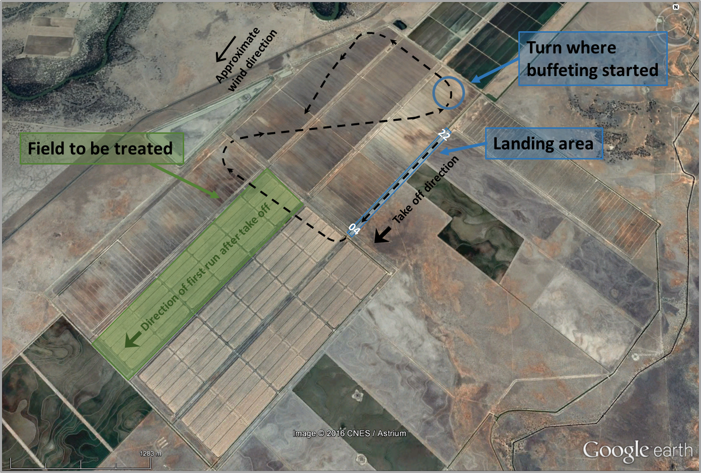 Figure 1: Map showing the location of the landing area, field to be treated and the aircraft flight path