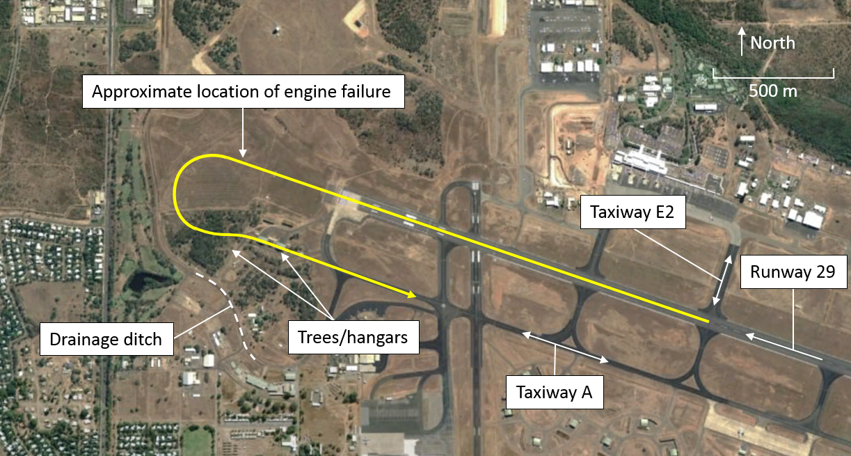 Figure 1: Darwin Airport overview showing approximate flight path of TYV