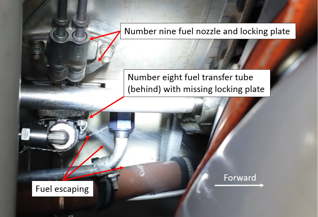 Figure 3: Fuel under pressure escaping from migrated fuel transfer tube