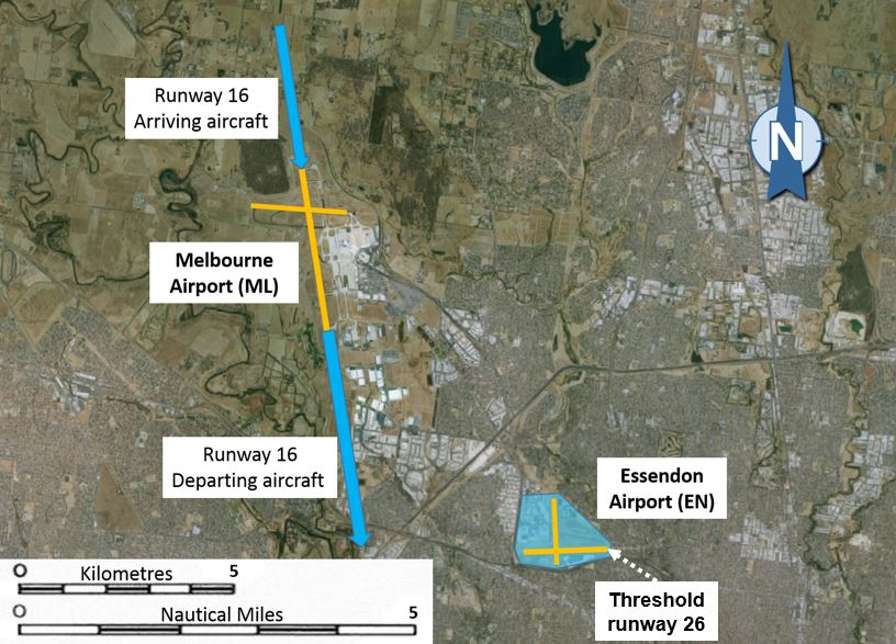 Figure 2: Indicative flight paths for runway 16 operations at Melbourne Airport and the area overhead Essendon airport and the threshold of runway 26, where WYR was operating