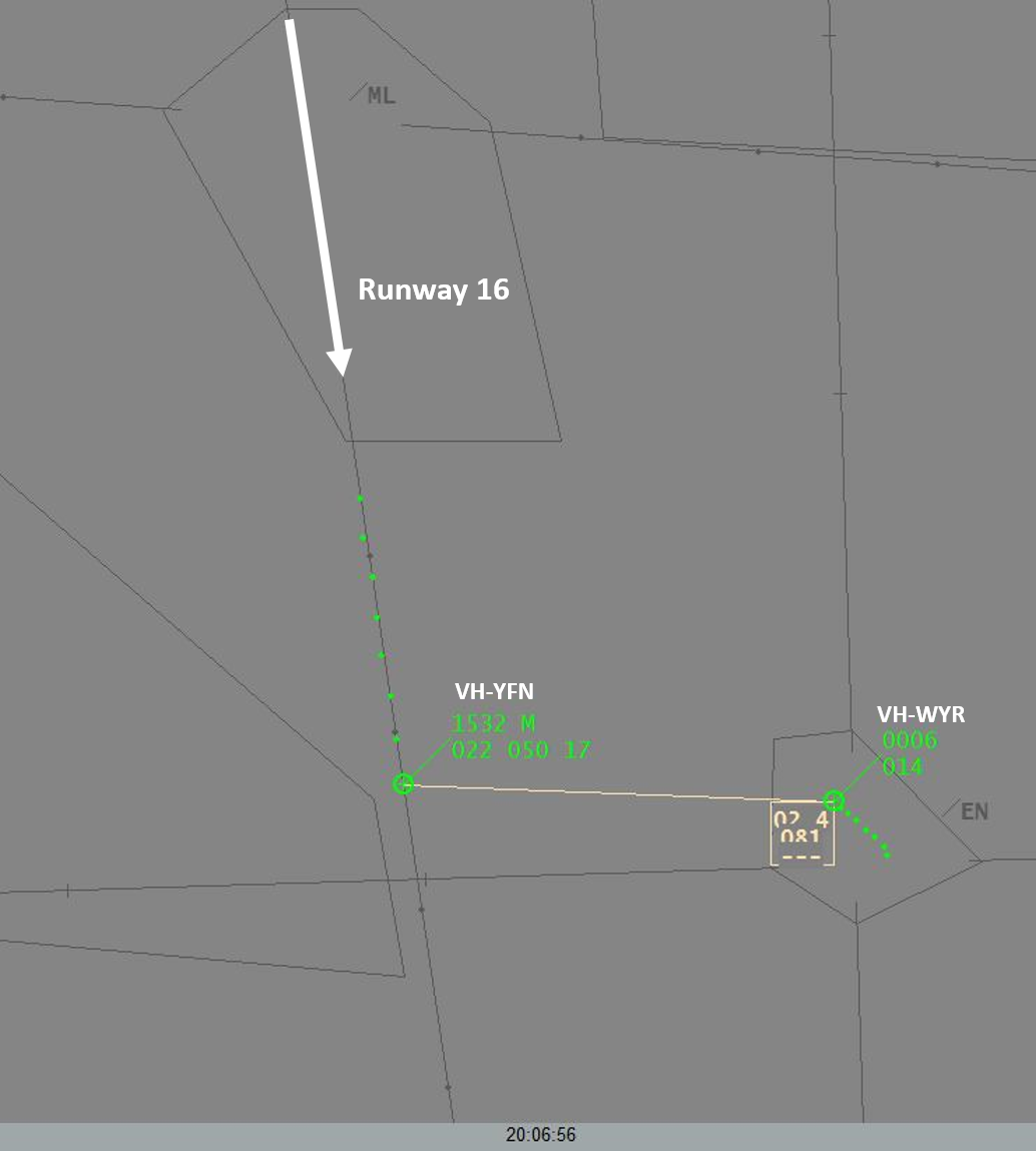 Figure 3: Air traffic control surveillance image at 0706:56, showing VH-YFN 2.4 NM (4.4 km) from and 800 ft above VH-WYR at Essendon Airport