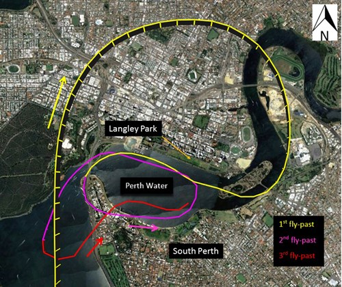 Figure 1: CQA air display flight track, showing the first fly-past in yellow, the second in magenta and the third in red