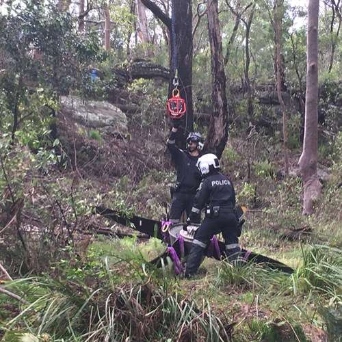 NSW Police prepare to winch the propeller from bushland