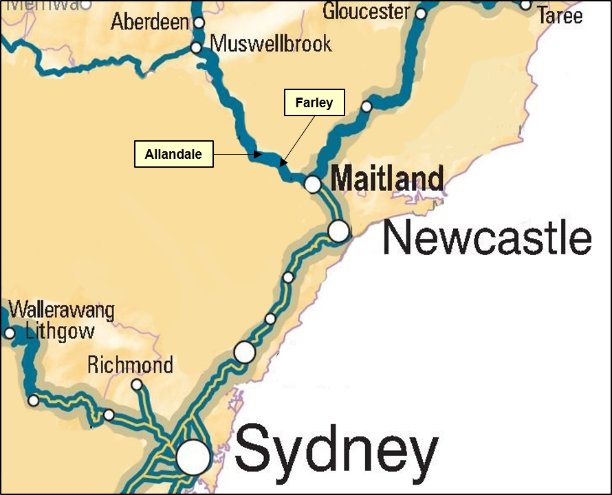 Figure 1: Location of the Allandale to Farley track section.