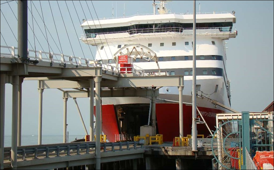 Figure 1: Spirit of Tasmania II's upper and lower bow ramps deployed at Station Pier
