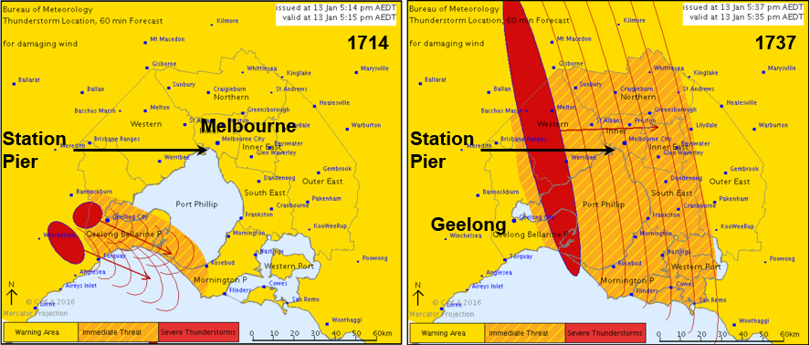 Figure 9: Maps issued with the 1714 and 1737 severe thunderstorm warnings
