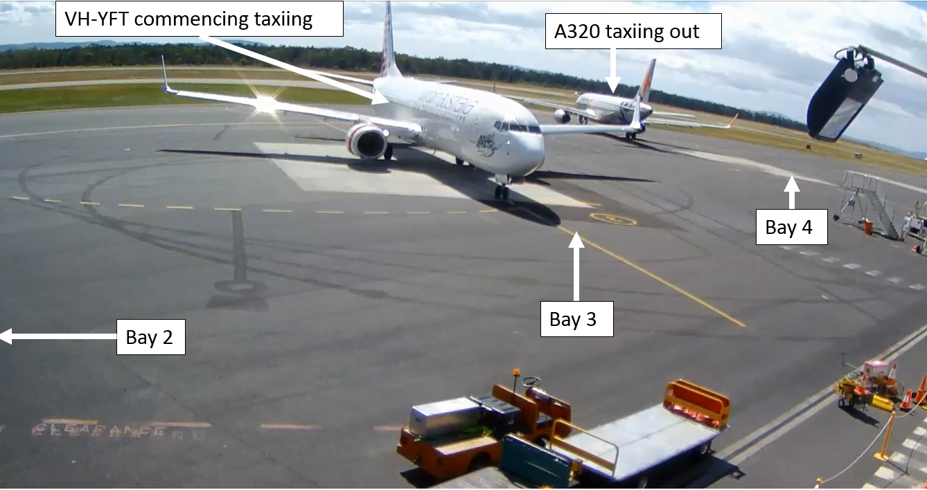 Figure 2: YFT starts taxiing from bay 3 at Hobart Airport