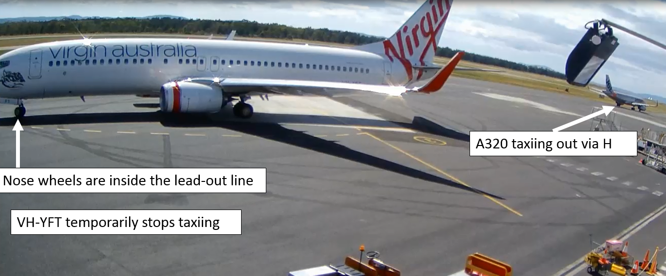 Figure 4: YFT stopped taxiing during the turn out of bay 3