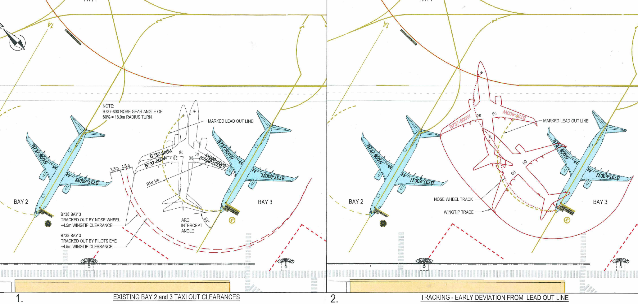 Figure 10: Airport survey markings showing B737 aircraft taxi track with nose wheel on lead-out line (left) and approximate incident taxi path (right)