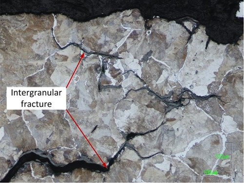 Figure 9: Photomicrograph of the etched microstructure of the rail fracture surface. The foot-web intersection of fractured weld exhibited an intergranular fracture mode.
