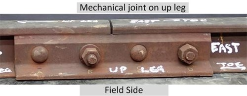 Figure 8: Mechanical joint adjacent to fractured weld on the East rail
