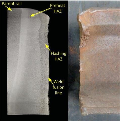 Figure 7: Macro etched longitudinal section of rail on the left showing that the fracture had occurred predominantly in the HAZ adjacent to the weld fusion line. The rail prior to sectioning is shown on the right.