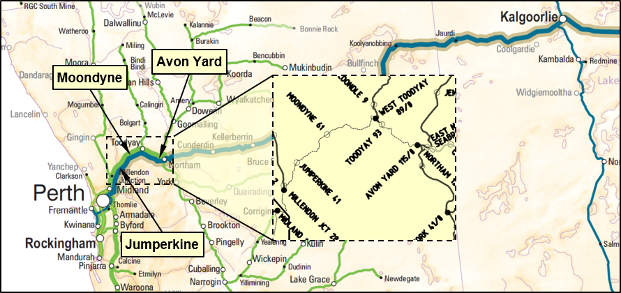 Figure 1: Location of Moondyne, Jumperkine and Millendon Junction in the Avon Valley