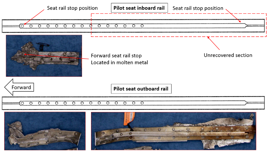 Figure 20: Recovered sections of the pilot's seat rails