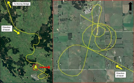 Figure 1: Approach path of VH-YTM showing the initial deviations from the direct flight path on the left, and the series of low level turns prior to landing on runway 29 on the right