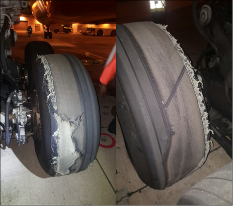 Figure 4: Number 6 wheel tyre (left picture looking forward and the right looking rearwards)