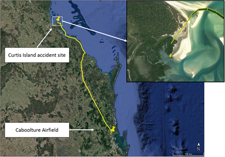 Figure 1: VH-DPU track and accident site (drop pin)
