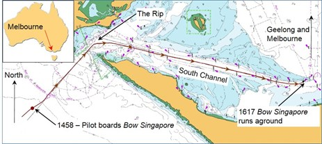 Figure 1: Section of chart AUS 158 showing the track of Bow SingaporeSource:  Australian Hydrographic Service with annotation by the ATSB