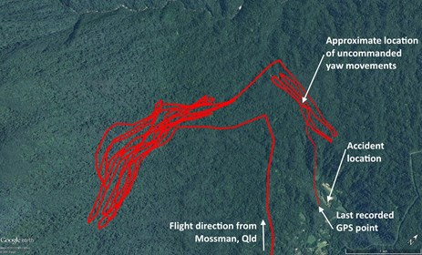 Figure 1: The helicopter's GPS track, arriving in the area of operations, its flight path around the forested terrain in the Whynabeel valley, and the accident site.