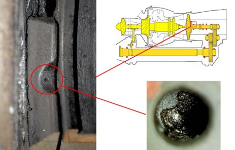 Figure 8: Close up of the blockage (circled) at the oil jet to the front bearing, as positioned in the general arrangement view