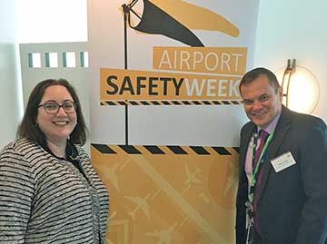 Caroline Wilkie CEO Australian Aiports Association and ATSB Chief Commissioner Greg Hood, supporting Airport Safety Week