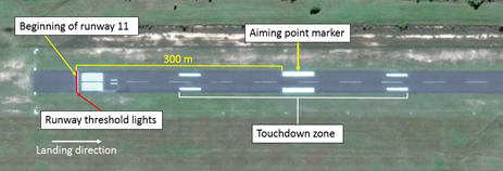 Figure 1: Overview of runway 11 threshold. Image shows the positions of the beginning of the runway, runway threshold lights, aiming point markers and touchdown zone. Source: Google earth, annotate by ATSB